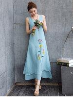 Dressกระโปรงผ้าฝ้าย สีฟ้า แขนกุด พิมลายดอกไม้ข้างลำตัว ผ้าเนื้อดีใส่สบายไม่บาง รููปทรงน่ารักมากค่ะ