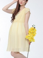 #Dressกระโปรง ผ้าชีฟองสีเหลืองอ่อน แขนสั้น ใส่สบายไม่ร้อน พร้อมเชือกผูกหลังคะ