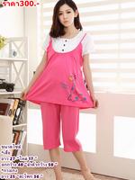 #ชุดนอนคนท้อง เสื้อ + กางเกง 3 ส่วน ผ้ายืดสีชมพู ผ้านิ่มน่ารักใส่สบายจ้า
