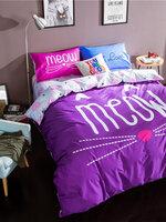 #ชุดผ้าปูที่นอน มีผ้าปูที่นอน1ผืน ปลอกหมอน2ชิ้น และผ้าห่ม1ผืน ลายmeow