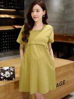 DRESSกระโปรงผ้าฝ้ายสีเหลืองเขียว คอกลม แขนสั้น ผ้าเนื้อดีใส่สบายไม่ร้อน ทรงเรียบร้อย ใส่ทำงานได้ค่ะ