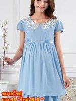 #Dressกระโปรง ผ้าชีฟอง แขนสั้น สีฟ้า คอปกประดับลูกไม้สีขาว พร้อมเชือกผูกหลัง รูปทรงน่ารักมากๆคะ
