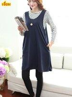#ชุดSET 2 ชิ้น เสื้อยืดแขนยาวลายขวางสีขาวสลับดำ + Dressกระโปรงสีกรม ผ้าเนื้อนิ่มใส่สบายมากๆคะ