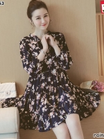 #เสื้อคลุมท้องแฟชั่น ผ้าชีฟองผสมเส้นใยโพลีเอสเตอร์ (โพลีเอสเตอร์)*สีกรมลายดอกไม้สีขาว คอปกแขนยาวเอวหลวม น่ารักใส่สบายมากจร้า