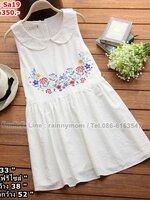 #เสื้อคลุมท้องแฟชั่น ผ้าฝ้ายสีขาว แขนกุด คอบัว ปักลายดอกไม้ช่วงหน้าอก สีสันสดใส ใส่สบายไม้ร้อน น่ารักมากๆคะ