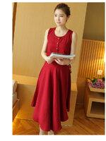 Dressกระโปรง ผ้าฝ้ายสีแดง แขนกุด พร้อมเชือกรูด รูปทรงน่ารักใส่สบายไม่ร้อนคะ