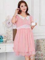 Dressกระโปรง ผ้าชีฟอง สีชมพู คอปกลูกไม้ แขนสั้น พร้อมเชือกผูกหลัง รูปทรงน่ารักมากๆคะ