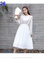 #มาใหม่จร้า #เดรสกระโปรงคลุมท้องแฟชั่น คอกลมแขนยาว สีขาว ผ้าชีฟอง สไล์เกาหลีน่ารักมากค่ะ ผ้านิ่มใส่สบาย