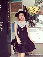 ชุดSETเสื้อยืดสีเทา แขนกุด +Dressกระโปรงผ้าชีฟองสีดำสายเดี่ยว รูปทรงน่ารักน่าใส่มากๆคะ