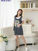 #สินค้าลดราคามาแล้วจร้า #Dressกระโปรง ผ้ายืดสีกรมลายขวาง แขนสั้นสีขาว + ลายมิกกี้เม้าท์ รูปทรงน่ารักผ้าเนื้อนิ่มใส่สบายมากๆคะ