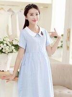 Dressกระโปรงแฟชั่น ผ้าฝ้ายสีฟ้า แขนสั้น คอบัวสีขาว พร้อมเชือกผูกหลัง รูปทรงน่ารักใส่สบายมากๆคะ