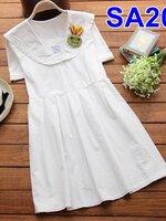 #Dressกระโปรงสั้น ผ้าฝ้ายสีขาว แขนสั้น คอปกทหารเรือ เนื้อผ้านิ่มสวมใส่สบาย ไม่ร้อนคะ