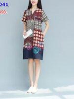 #เดรสกระโปรงคลุมท้อง สไตล์ย้อนยุคสาวเมืองจีน เป็นผ้าฝ้าย คอวีแขนสั้น ที่เย็บปักถักร้อยในแบบแฟชั่นไม่เหมือนใคร สามารถใส่หลังคลอดได้สบาย
