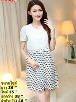 #DRESSกระโปรงผ้าชีฟอง คอกลม แขนสั้น ด้านบนเป็นผ้าสีขาว ด้านล่างเป็นพื้นสีขาวลายจุดสีดำ ดีไซน์น่ารักมากๆค่ะ