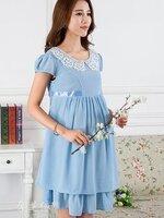 Dressกระโปรง ผ้าชีฟอง แขนสั้น สีฟ้า คอปกประดับลูกไม้สีขาว พร้อมเชือกผูกหลัง รูปทรงน่ารักมากๆคะ