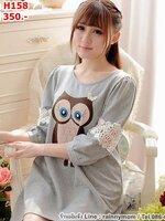 #เสื้อคลุมท้องแฟชั่น ลายนกฮูก สีเทา แขนป่อง น่ารักมากๆค่ะ สีสดใส