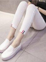 กางเกงพยุงหน้าท้อง สีขาว ขายาว ปลายขาปักแถบ3สีเก๋ๆ มีสายปรับระดับได้ ใส่สบายมากๆค่ะ