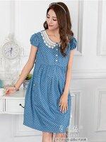Dressกระโปรง ผ้าฝ้ายสีฟ้าลายจุด แขนสั้น คอบัวปกลูกไม้ พร้อมเชือกผูกหลัง รูปทรงน่ารักมากๆคะ