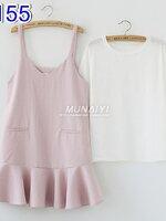 #ชุดSET 2 ชิ้น เสื้อตัวในสีขาวแขนสั้นคอกลม + เดรสกระโปรงสีชมพู ปลายระบาย มีกระเป๋าหลอกข้างหน้า ผ้านิ่มใส่สบายสไตล์แฟนชั่น