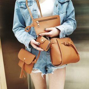 Set 4 ใบ-กระเป๋าสะพายหนังทรงสวย สีน้ำตาล