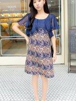Dressกระโปรง ผ้าชีฟองพิมพ์ลายดอกไม้สีกรม น่ารัก ส่วมใส่สบายไม่ร้อนคะ