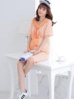Dressกระโปรงผ้ายืดลายขวางสีขาวสลับส้ม แขนสั้น มีฮูดส่มศรีษะสีส้มแยกชิ้น เนื้อผ้านิ่มวมใส่สบายคะ