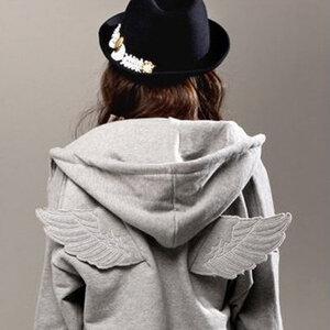 เสื้อกันหนาวมีปีกเทา/ดำ