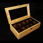 กล่องใส่นาฬิกา งานไม้สนบุกำมะยี่สำน้ำตาล 10 เรือน (ตัวล็อกธรรมดา) สินค้าพร้อมส่ง จัดส่งฟรี