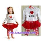 """ชุดคริสมาสเด็กหญิง เสื้อลาย """"I LOVE SANTA"""" +กางเกงเลคกิ้งลาย (ไม่รวมกิ๊ป) Christmas Costume สำหรับ เทศกาลวันคริสมาส มีขนาด 80"""