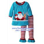 ชุดคริสมาสเด็กหญิง เสื้อลาย SANTA+กางเกง Christmas Costume สำหรับ เทศกาลวันคริสมาส มีขนาด 80, 90, 100, 110, 120
