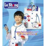 ชุดแฟนซีคุณหมอ สีขาว ใช้ได้ทั้งเด็กชายและเด็กหญิง (เสื้อกาวสีขาว+อุปกรณ์ทั้งหมด) ขนาดฟรีไซด์สำหรับเด็ก 100-130 ซม.