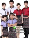 เสื้อพนักงานเสริฟผ้าพื้นสีฟ้า/สีขาว/สีแดง เสื้อฟอร์มพนักงาน เสื้อพนักงานโรงแรม เสื้อพนักงานร้านอาหาร ยูนิฟอร์ม