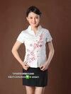 เสื้อพนักงานต้อนรับสไตล์จีนสีขาว/สีชมพู