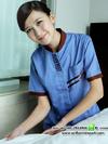 เสื้อพนักงานทำความสะอาดสีฟ้าคอลายจีน
