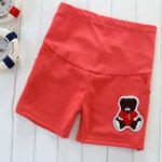 กางเกงคนท้อง ขาสั้นสีแดงแตงโม ลายหมี ปรับเอวได้ size M, L ,XL