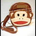 กระเป๋าสะพายหนัง สายปรับได้ ลายลิง น่ารักมาก