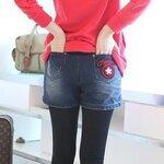 กางเกงยีนส์ยืดขาสั้น ไซส์ XL กระเป๋ามีรูปดาว