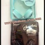 หูฟังChocolateและสมอลทอร์คใหญ่ สีฟ้าและดำ
