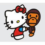 สติ๊กเกอร์ hello kitty handshake monkey ขนาด 12x14 CM