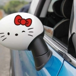 สติ๊กเกอร์ติดกระจกมองข้างรถ Hello Kitty สีดำผูกโบว์แดง (1Pack/2ชิ้น)