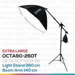 OCTA90 SOFTBOX 260T ขนาด 90 ซม. ชุดโคมไฟแปดเหลี่ยมถ่ายภาพสินค้า