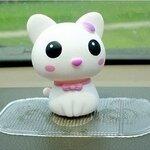 แมวน้อยน่ารัก หัวดุ๊กดิ๊กได้ สีขาว ขนาด 7x9CM (วัสดุไวนิล ไม่แตกหักเมื่อหล่น)