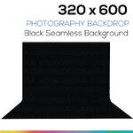 ฺBlack 320 x 600 Photography Backdrop ผ้าฉากหลังสีดำ ตัดต่อ ถ่ายวีดีโอได้