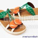 รองเท้า Fitflop ลายเชอรี่แบบสวม สีครีมส้มเขียว (36-40)