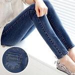 กางเกงคนท้องยีนส์ยืดขายาวเดฟ  มีผ้าพยุงหน้าท้อง เอวปรับสายได้ size M, XXL