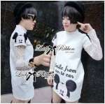 Lady Ribbon's Made Lady Insert Lace Sleeve Mickie Print Polyester Dress