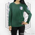 เสื้อยืดแขนยาว Attack On Titan(สีเขียว/สีขาว)