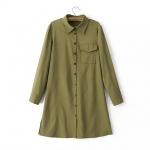 เสื้อเชิ้ตยาวสีเขียวทหาร สไตล์ยุโรป งานคัตติ้ง [ขายส่ง600.-*]