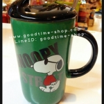แก้วน้ำพร้อมฝาปิดสนูปปี้ Snoopy น่ารักมาก สีเขียวเข้ม