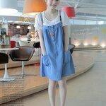 ชุดเอี้ยมคลุมท้อง สีฟ้า+เสื้อตัวในสีขาว สายปรับระดับได้ค่ะ น่ารักมากๆคร่า